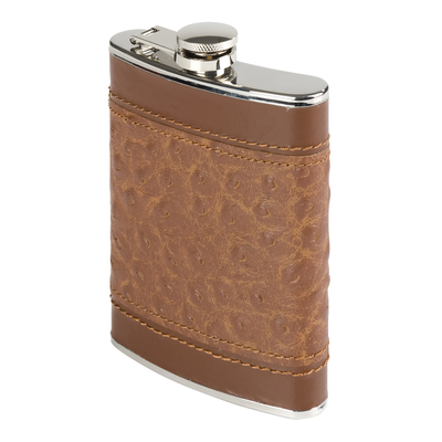 Oenophilia Brown Ostrich Flask - 6 oz