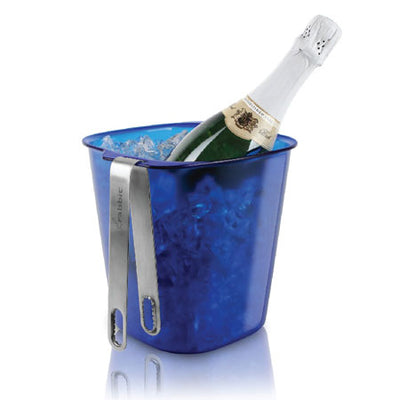 Metrokane Rabbit Ice Bucket with Stainless Tongs, Blue