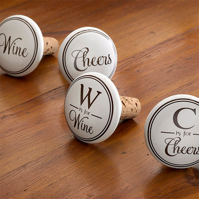 W is for Wine Ceramic Bottle Stopper