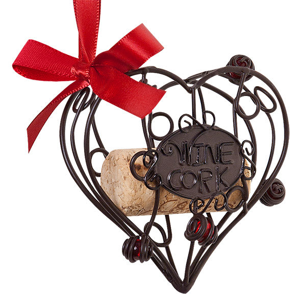 Heart Cork Cage Bottle Ornament