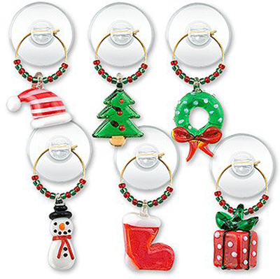 Holiday Mix Suction Cup Wine Glass Charms
