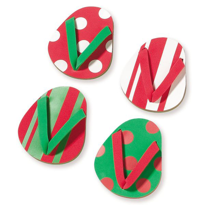 Merry Flip Flop Coasters - Set of 4
