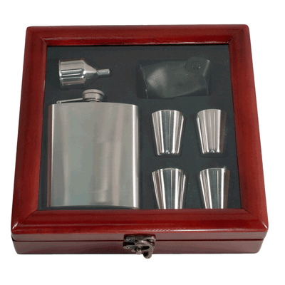 Pampered Grape Stainless Steel Flask Gift Set - 7 oz