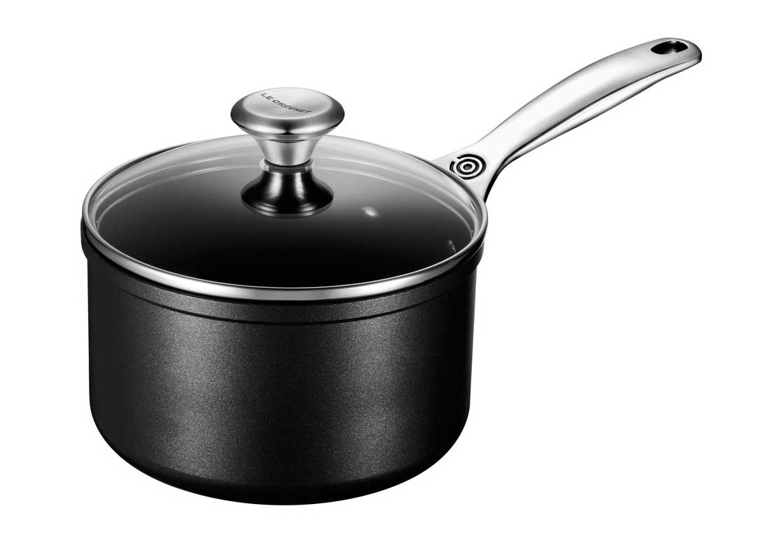 Le Creuset 3 Quart Toughened Nonstick Pro Saucepan w/Glass Lid