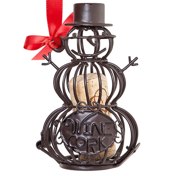 Snowman Cork Cage Bottle Ornament