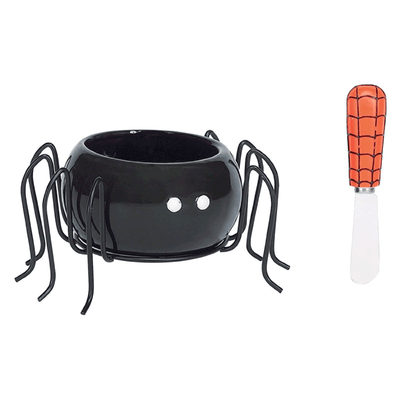 Happy Halloween Spider Boo Shaped Dip Bowl and Spreader Set