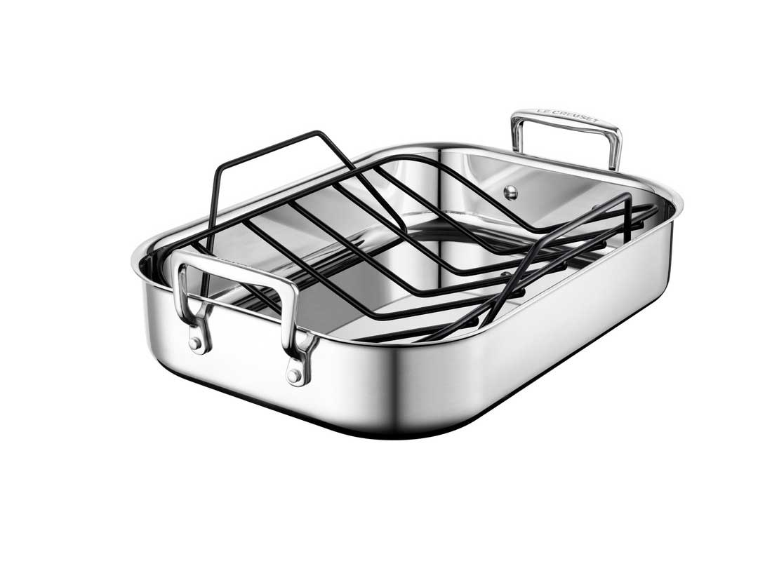 Le Creuset Small Stainless Steel Roasting Pan w/Nonstick Rack