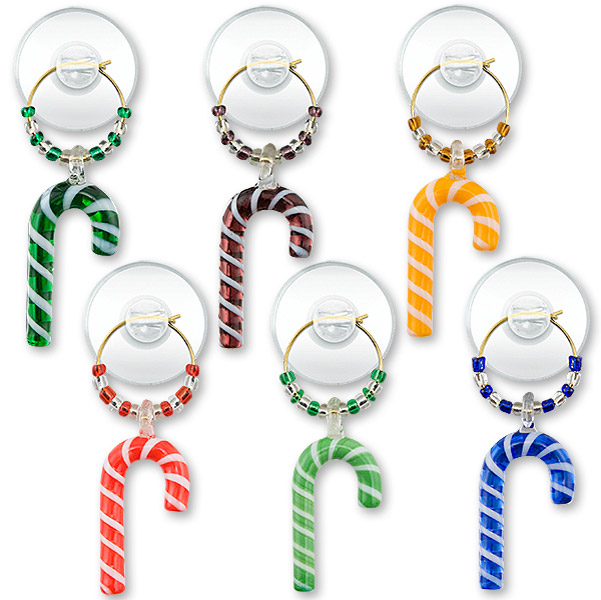 Candy Canes Suction Cup Wine Glass Charms