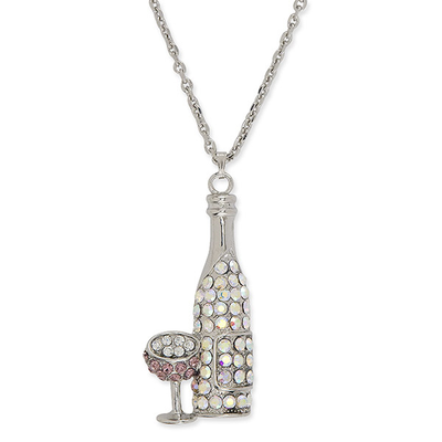 Bottle and Glass Rhinestone Necklace