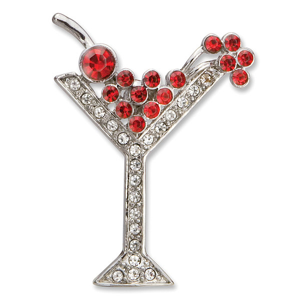 Holiday Martini Rhinestone Brooch