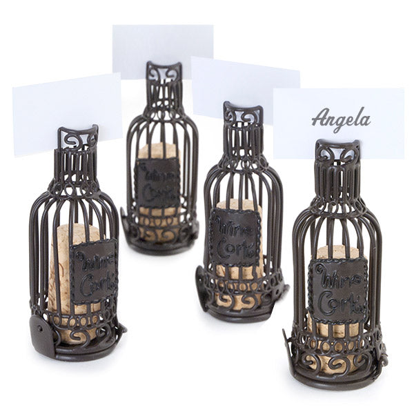 Wine Bottle Cork Cage Table Place Card Holder Set