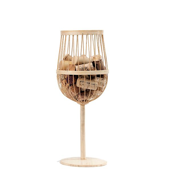 Bamboo Wine Glass Cork Holder
