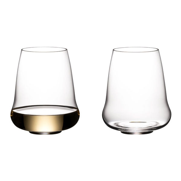 Riedel Winewings Riesling / Champagne Stemless Wine Glasses - Set of 2