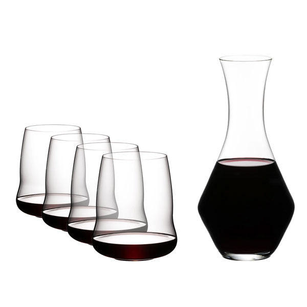Riedel Winewings Cabernet Stemless Wine Glasses Set of 4 + Merlot Decanter