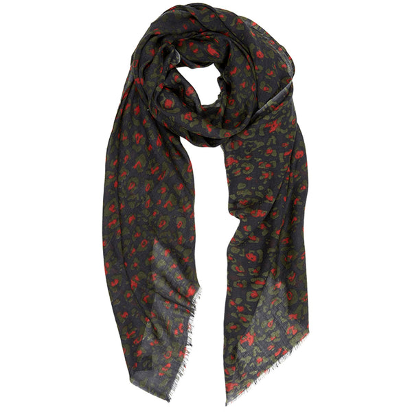LEO WOOL SCARF GREY/ORANGE - Dyrberg/Kern NZ