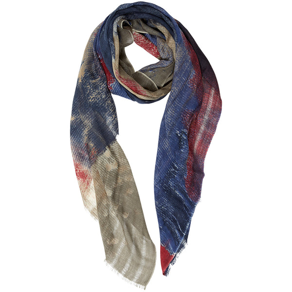 KISSED BY THE RAIN WOOL SCARF BLUE/RED - Dyrberg/Kern NZ