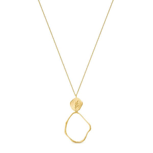 PORTLLIGAT GOLD LONG NECKLACE ROUND PENDANT