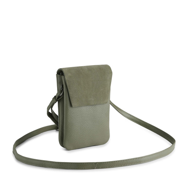 MARA CROSSBODY BAG, SUEDE MIX - OLIVE