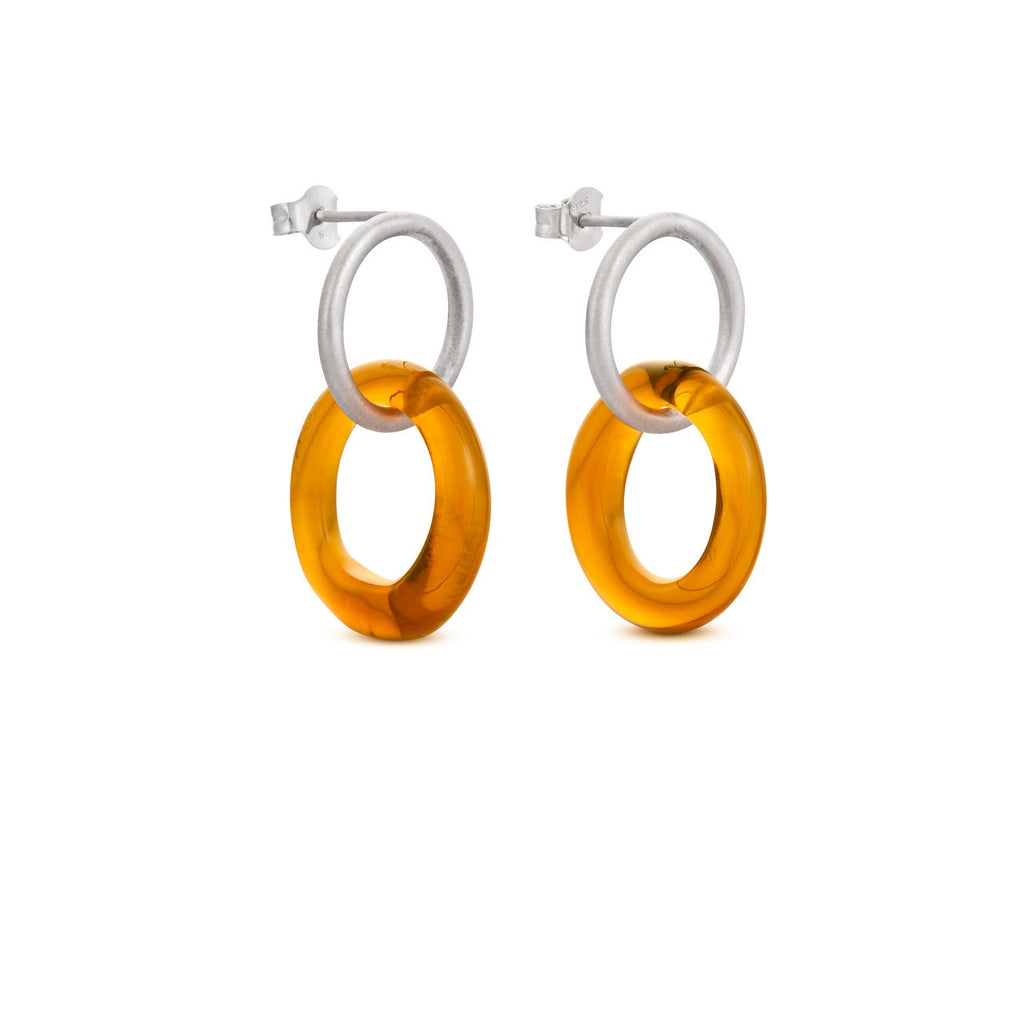 CARAMEL SILVER EARRINGS SMALL ROUND