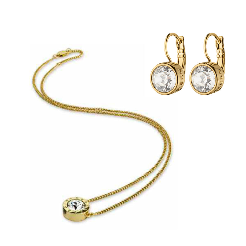 LOUISE SET, GOLD CRYSTAL NECKLACE AND EARRING