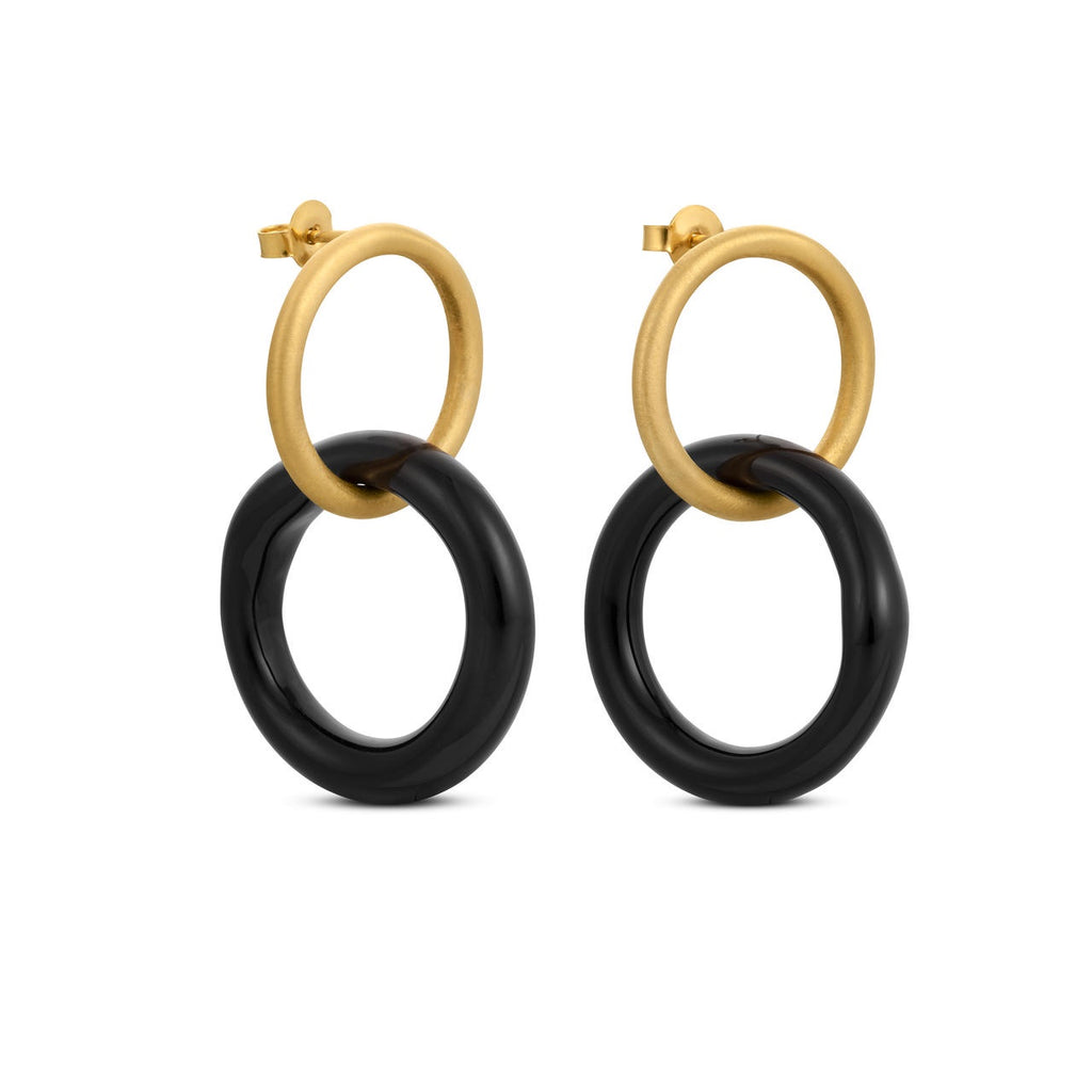CARAMEL GOLD/BLACK EARRINGS SMALL ROUND E3330AR093200