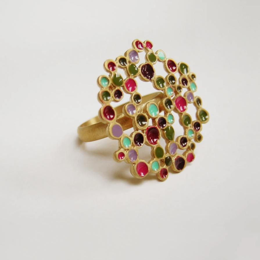 CANDY COLOURS GOLD RING FLAT CIRCLE