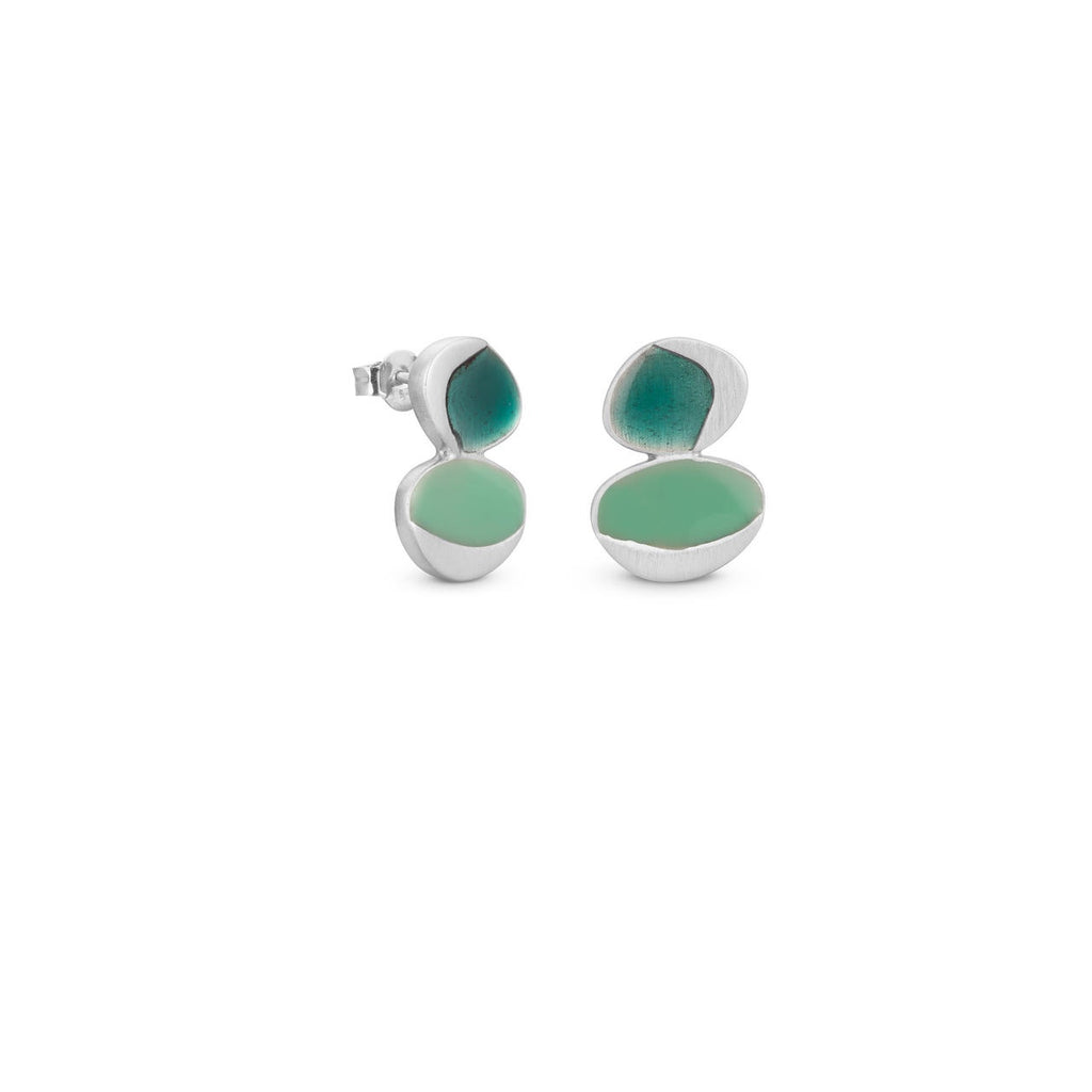 GARDEN SEEDS SILVER EARRINGS DOUBLE DROP TURQUOISE