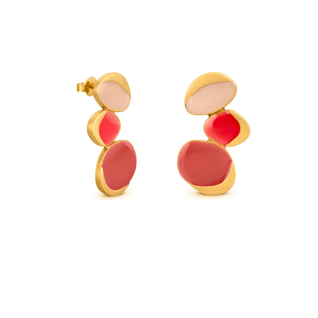 GARDEN SEEDS GOLD EARRINGS TRIPLE DROP RED
