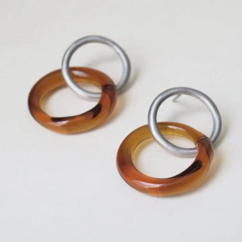 CARAMEL SILVER/BROWN EARRINGS LARGE ROUND E3330AR069000 - Dyrberg/Kern NZ