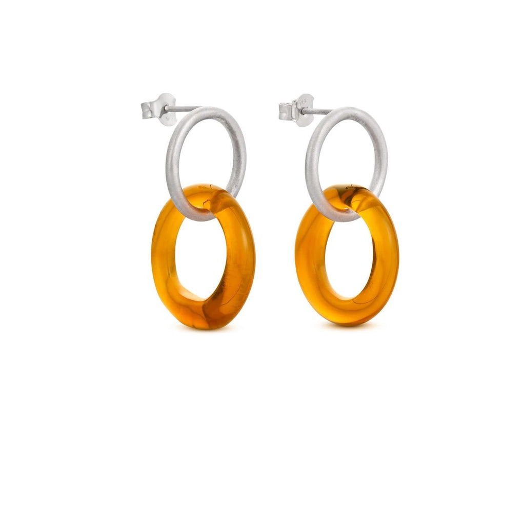 CARAMEL SILVER EARRINGS LARGE ROUND