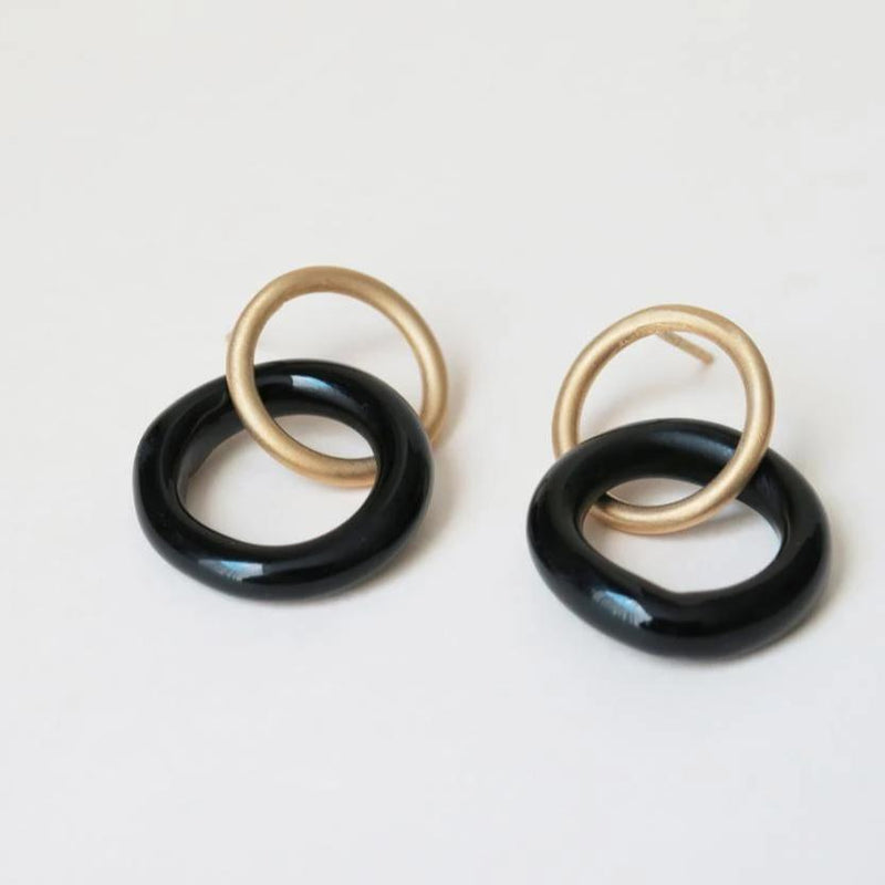 CARAMEL GOLD/BLACK EARRINGS SMALL ROUND E3330AR093200 - Dyrberg/Kern NZ
