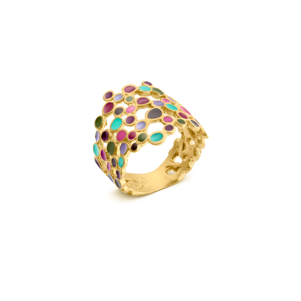 CANDY COLOURS GOLD RING ROUND