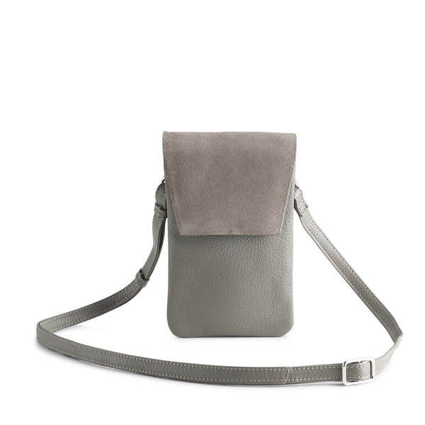 MARA CROSSBODY BAG, SUEDE MIX - STONE GREY