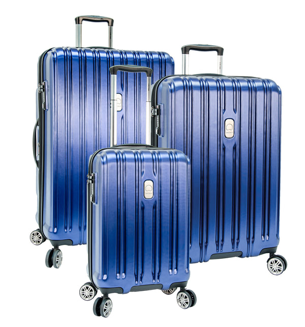 Delsey ChromeTec 3 Piece Expandable Spinner Luggage Set - Blue