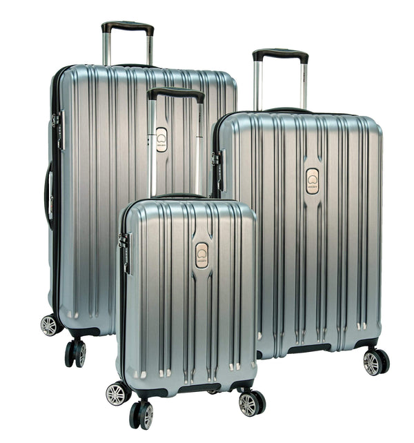 Delsey ChromeTec 3 Piece Expandable Spinner Luggage Set - Silver