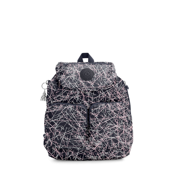 Kipling Elijah Medium Backpack - Navy Stick Print