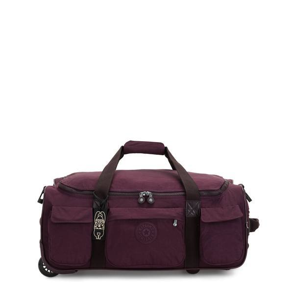 Kipling Discover Small Carry-On Rolling Luggage Duffel - Dark Plum