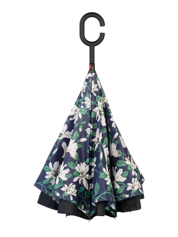 Belami by Knirps Reversible Stick Umbrella - Navy Floral