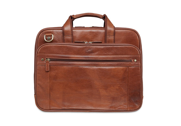 Mancini ARIZONA Double Compartment Briefcase for 15.6 Inch Laptop / Tablet - Cognac