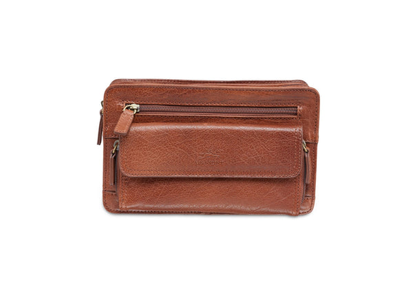Mancini ARIZONA Unisex Bag with Zippered Organizer Pocket - Cognac