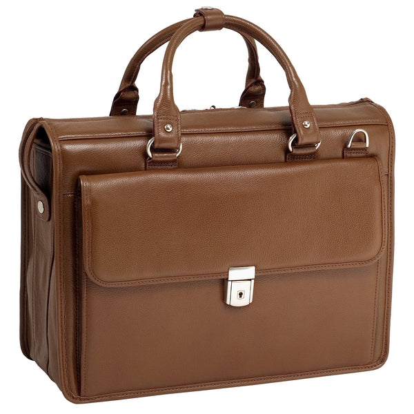 McKlein Gresham Litigator Leather Laptop Briefcase - Brown