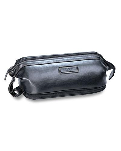 Mancini MADISON Collection Dual Compartment Toiletry Kit with Manicure Set - Black