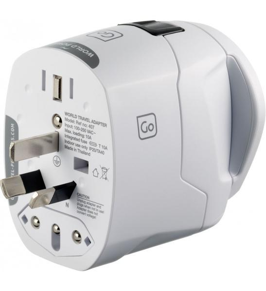 Go Travel Worldwide Earthed Travel Adapter
