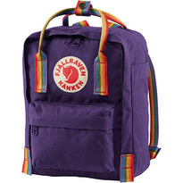 Fjallraven Kanken Rainbow Mini Backpack - Purple-Rainbow Pattern