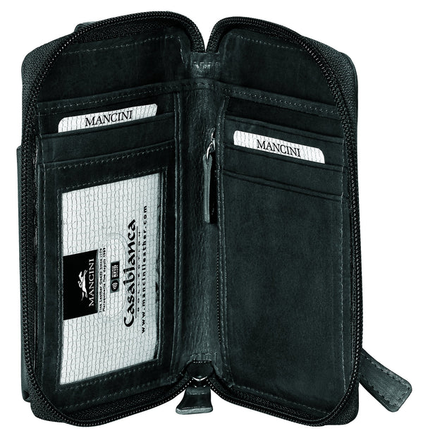 Mancini CASABLANCA Collection Cell Phone Wallet (RFID Secure)
