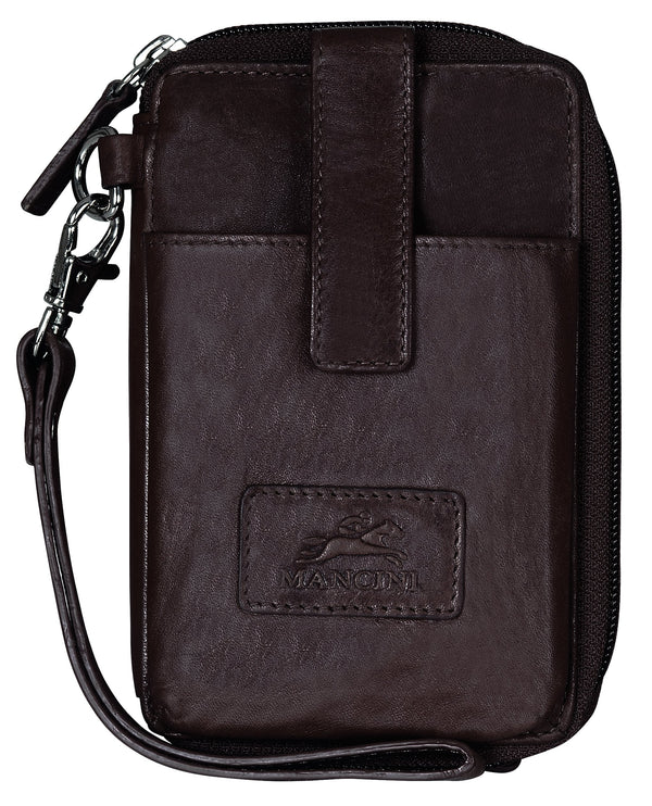 Mancini CASABLANCA Collection Cell Phone Wallet (RFID Secure) - Brown