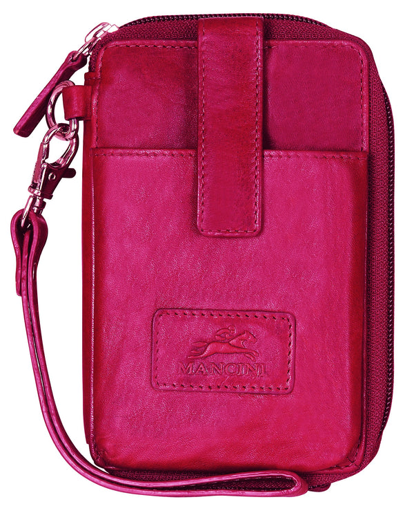 Mancini CASABLANCA Collection Cell Phone Wallet (RFID Secure) - Red