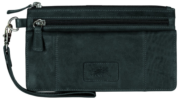 "Mancini CASABLANCA Collection Ladies' ""Wristlet"" Clutch Wallet (RFID Secure) - Black"
