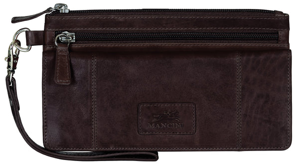 "Mancini CASABLANCA Collection Ladies' ""Wristlet"" Clutch Wallet (RFID Secure) - Brown"