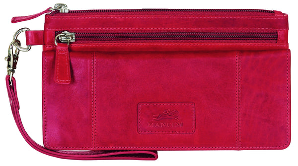 "Mancini CASABLANCA Collection Ladies' ""Wristlet"" Clutch Wallet (RFID Secure) - Red"